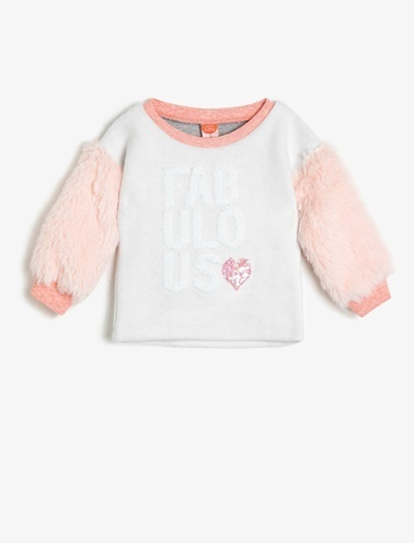 Koton Kids Peluş Sweatshirt Ekru